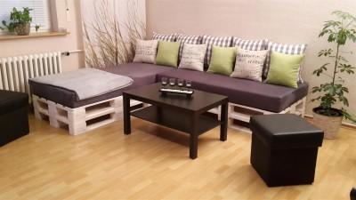 Palettenpolster für Lounge- & Sofamöbel Schaumstoff RG 35 - Sitzpolster 120x80x12cm mit Bezug Microfaser champagner