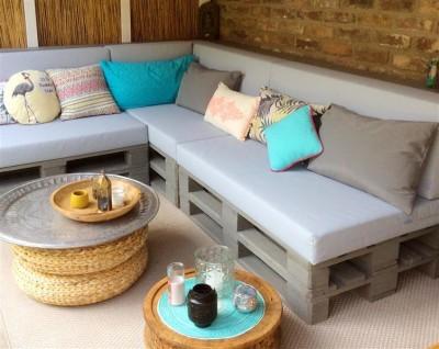 Palettenpolster für Lounge- & Sofamöbel Schaumstoff RG 35 - Set 120x80x8cm + 120x40x20/15cm mit Bezug Airtex royalblau