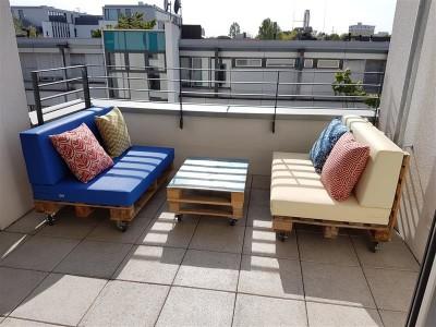 Palettenpolster für Lounge- & Sofamöbel Schaumstoff RG 35 -  Set 120x80x12cm + 120x40x20/15cm mit Bezug Airtex dunkelgrau