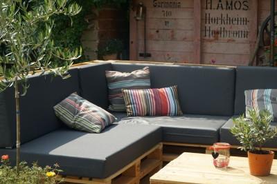 Palettenpolster für Lounge- & Sofamöbel Schaumstoff RG 35 -  Set 120x80x12cm + 120x40x20/15cm mit Bezug Airtex terrakotta