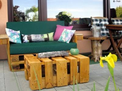 Palettenpolster für Lounge- & Sofamöbel Schaumstoff RG 35 - Rückenpolster 120x40x20/15cm mit Bezug Airtex hellgrau