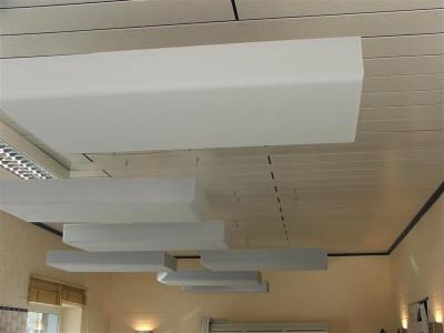 Deckensegel mit Dekor-Kante aus Basotect® weiß 100 x 50 x 8cm mit Edelstahl-Halterung