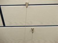 Deckensegel mit Dekor-Kante aus Basotect® lichtgrau 100 x 50 x 5cm mit Edelstahl-Halterung