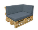 Palettenpolster Schaumstoff RG 35 - SET 3-teilig - Sitzpolster 120x80x12cm + Rückenpolster 120x40x20/15cm + Lehne 65/60x40x20/15cm Bezug Kunstleder basalt